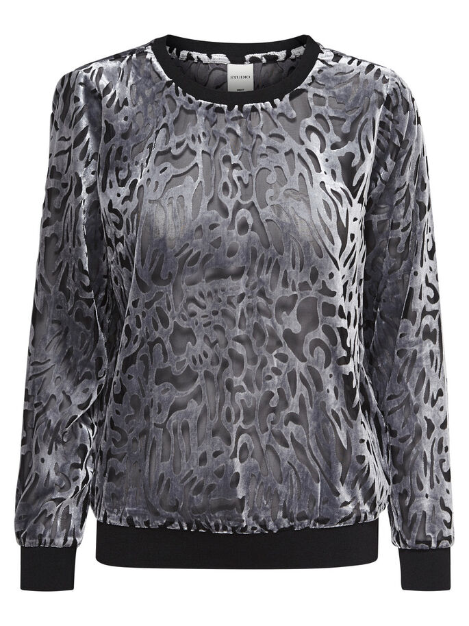 VELVET LONG SLEEVED TOP, Black, large