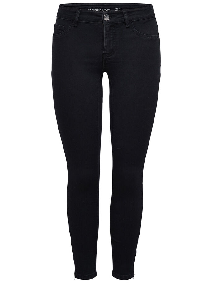 JDY EAGLE ZIP ANCLE SKINNY FIT JEANS, Black, large