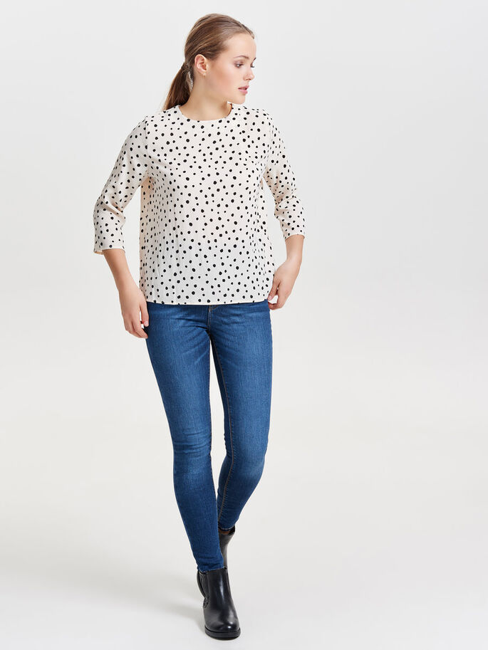 PRINTED LONG SLEEVED TOP, Whitecap Gray, large