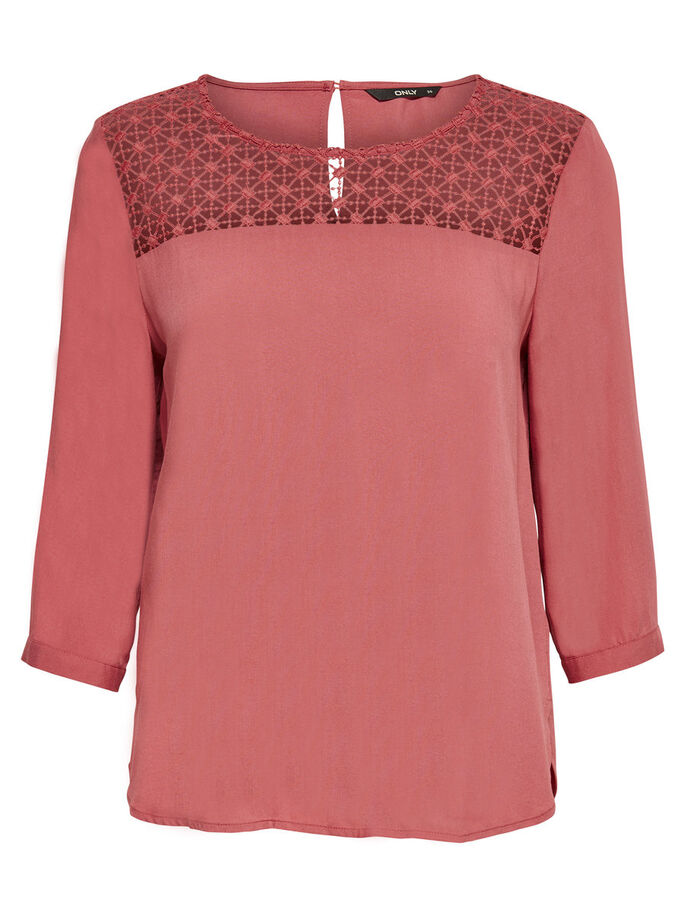 KANTEN DETAIL TOP MET 3/4 MOUWEN, Canyon Rose, large