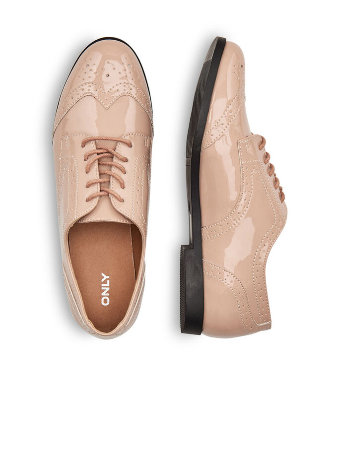 SHINY LACE UP SHOES, Nude, large