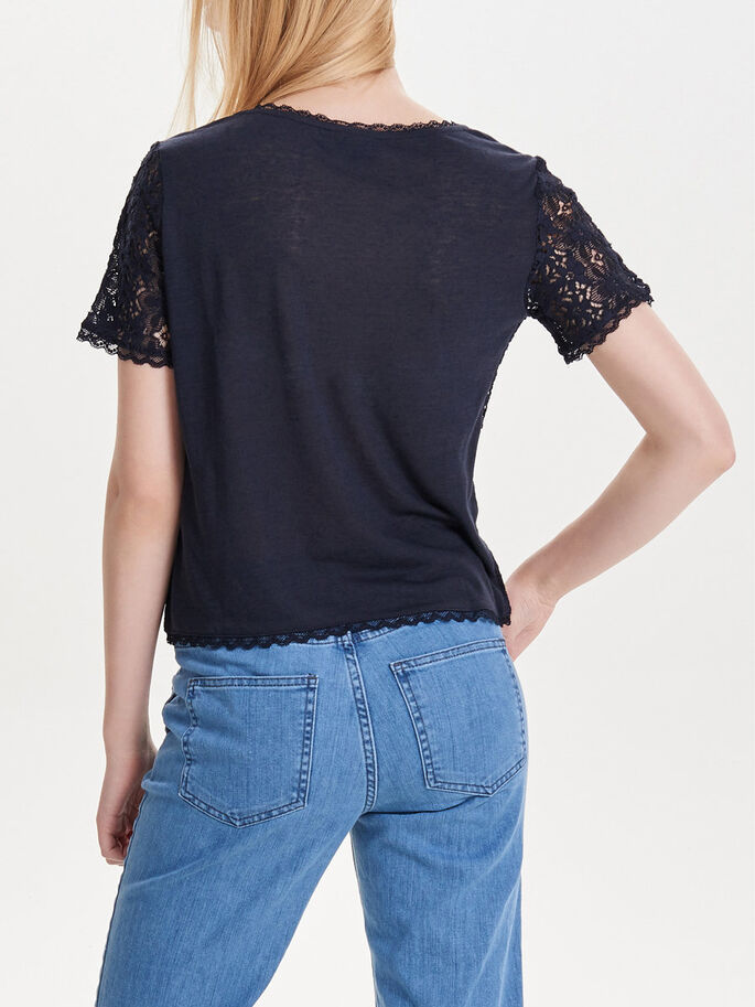 LACE SHORT SLEEVED TOP, Dark Navy, large