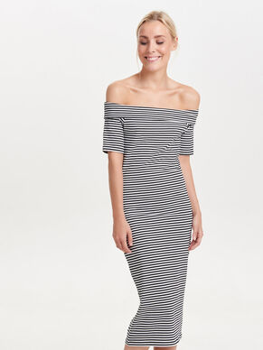 OFF-SHOULDER MIDI DRESS