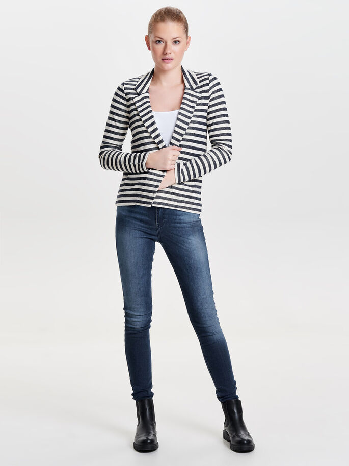 STRIPED BLAZER, Cloud Dancer, large