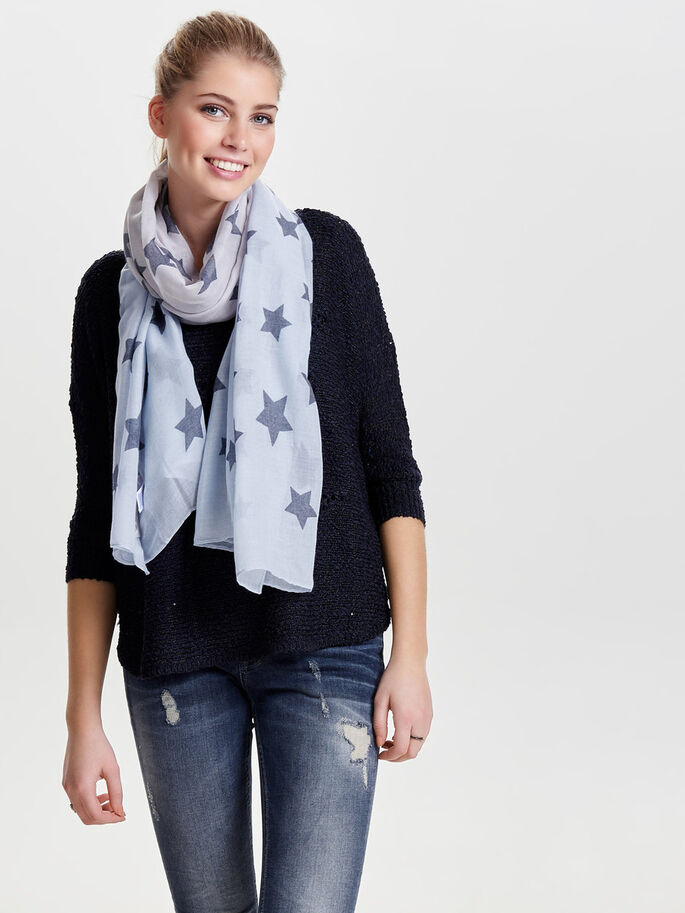 PRINTED SCARF, Vapor Blue, large