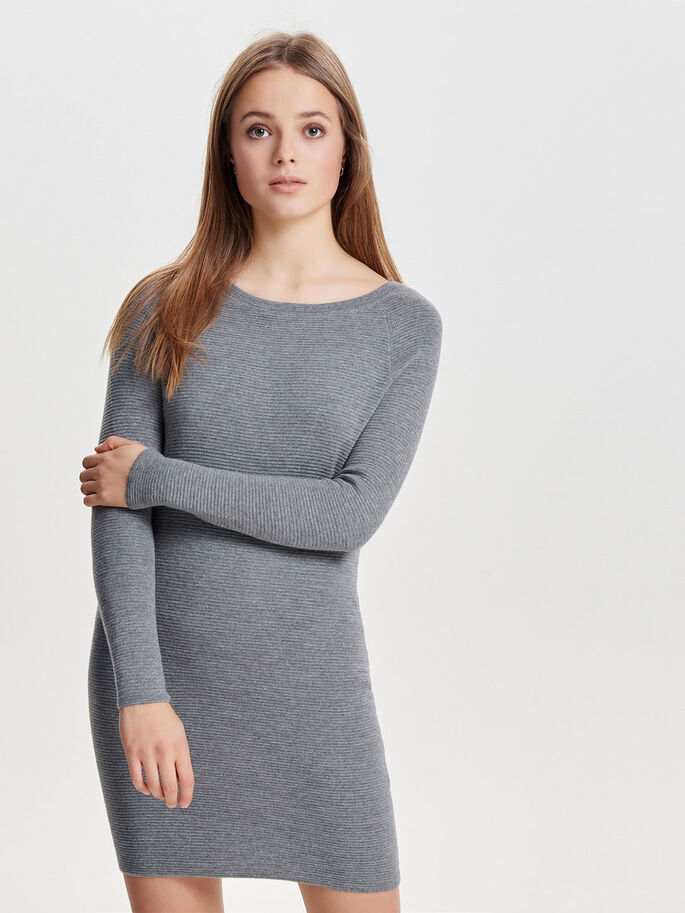 LONG SLEEVED KNITTED DRESS, Light Grey Melange, large