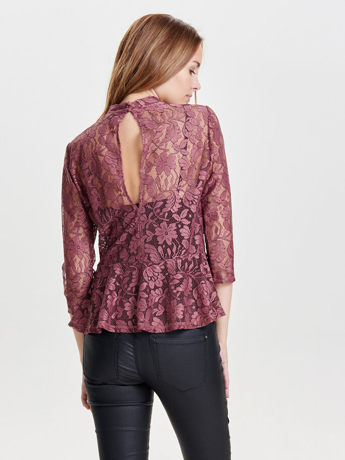 SPITZEN- BLUSE MIT 3/4 ÄRMELN, Withered Rose, large