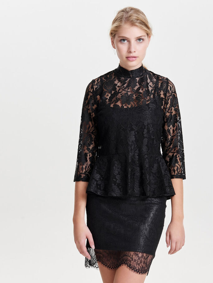 LACE 3/4 SLEEVED BLOUSE, Black, large