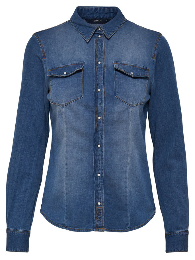 ENTALLADA CAMISA VAQUERA, Light Blue Denim, large