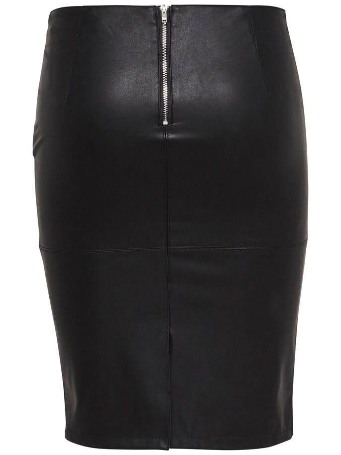 IMITERET LÆDER SKIRT, Black, large