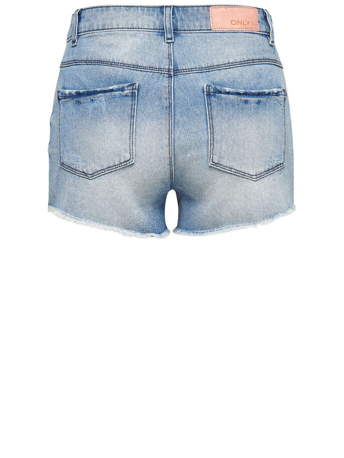 HIGH-WAIST DESTROYED DENIM SHORT, Medium Blue Denim, large