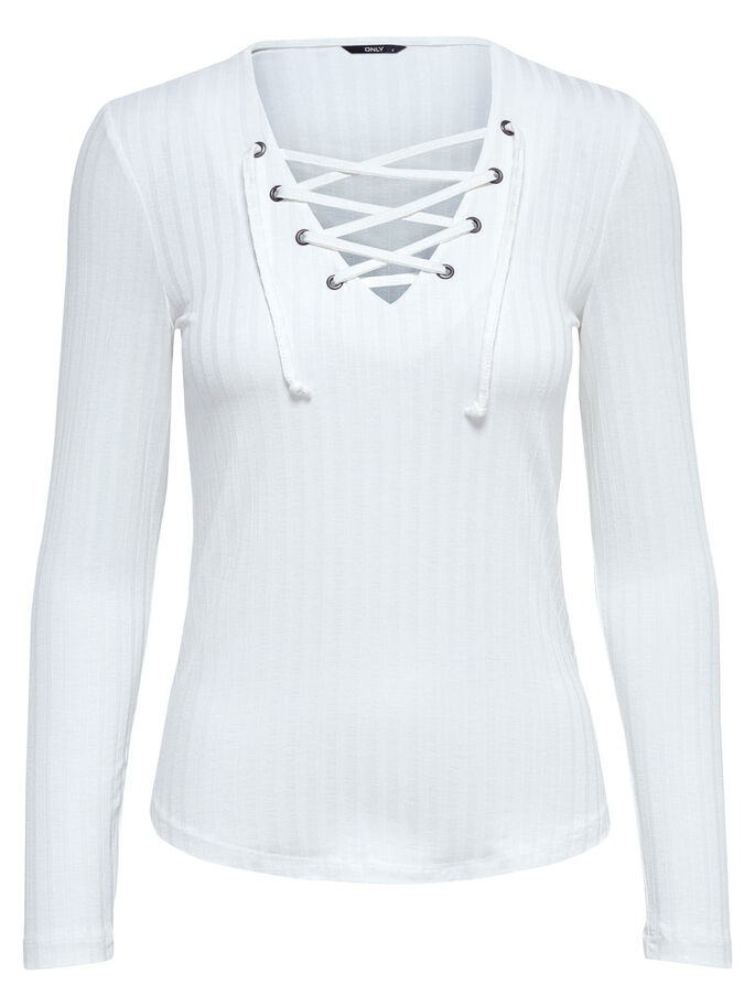LACE-UP TOP MED LANGE ÆRMER, Cloud Dancer, large