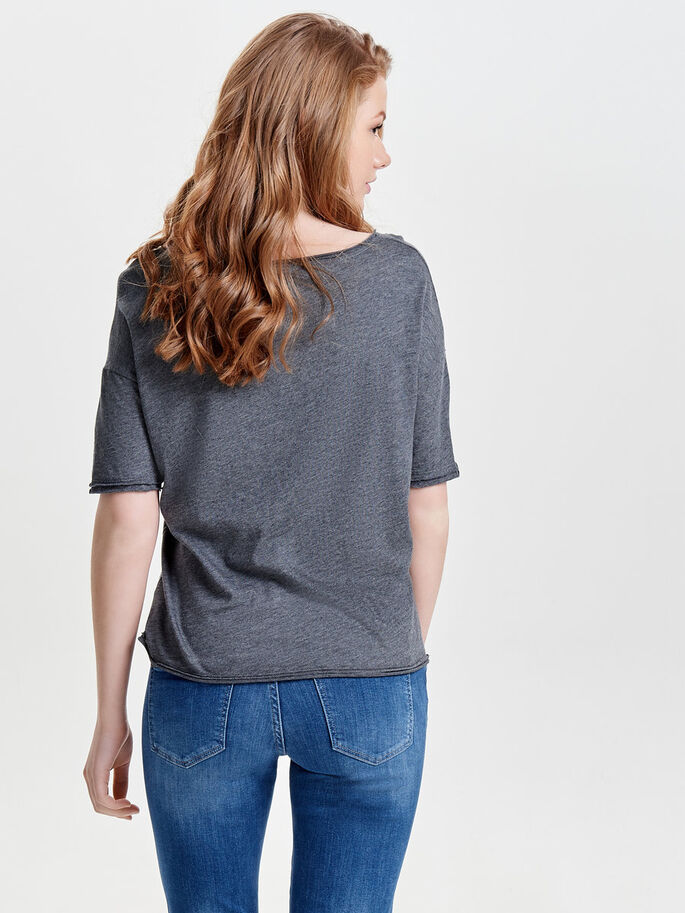 PRINTED SHORT SLEEVED TOP, Dark Grey Melange, large