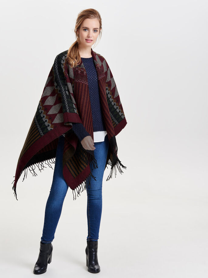 DETAILED PONCHO, Syrah, large