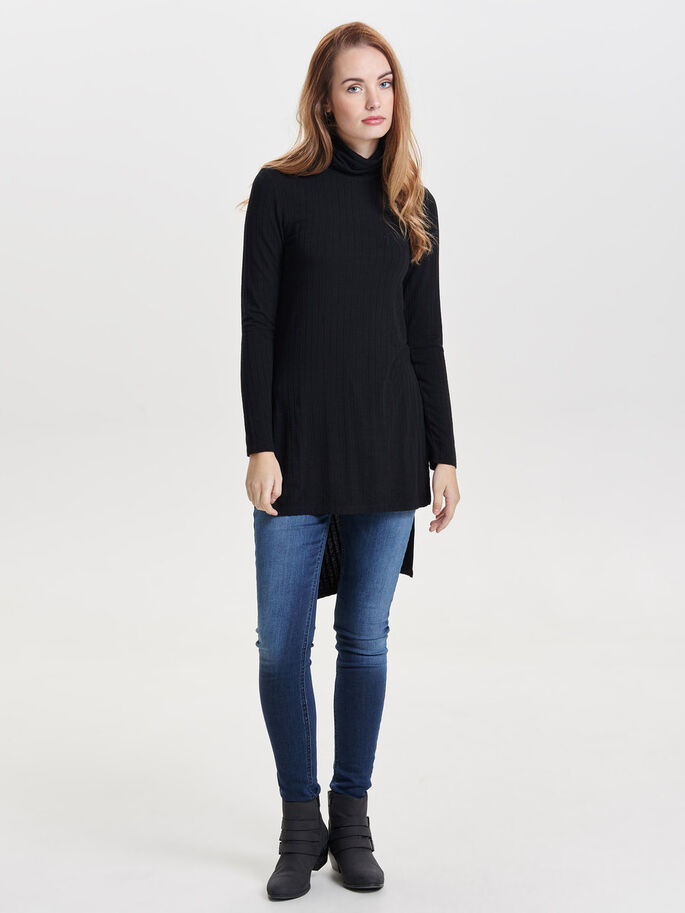 HIGHNECK KNITTED PULLOVER, Black, large
