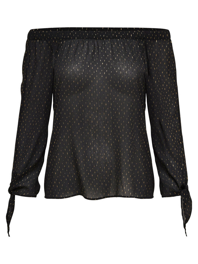 OFF-SHOULDER- OBERTEIL MIT LANGEN ÄRMELN, Black, large