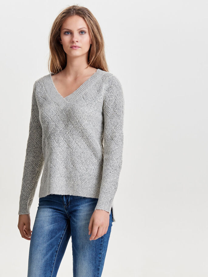 AMPLE PULL EN MAILLE, Light Grey Melange, large