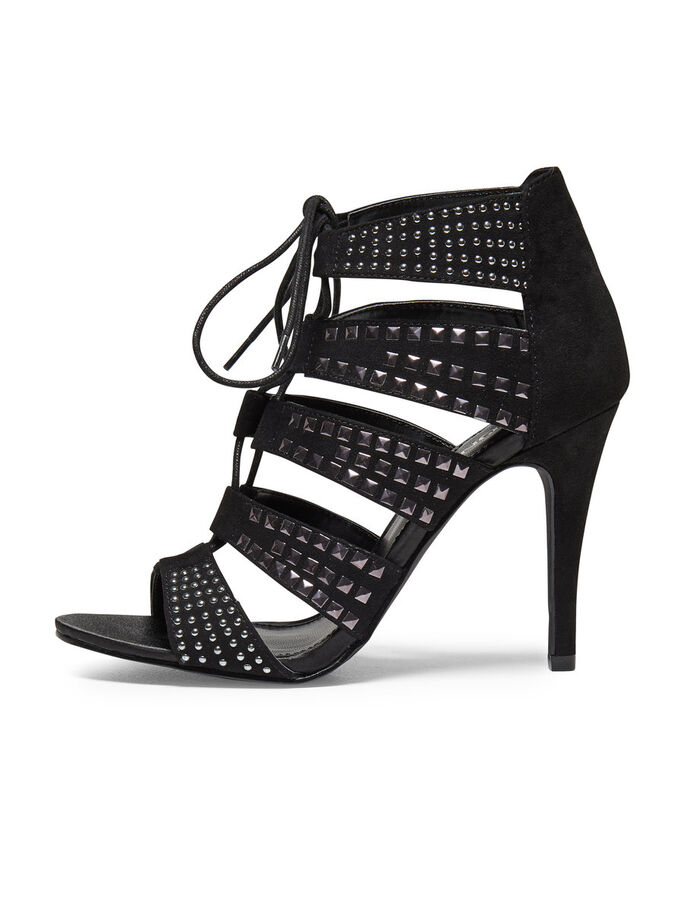 HIGHHEELED STUD SANDALS, Black, large