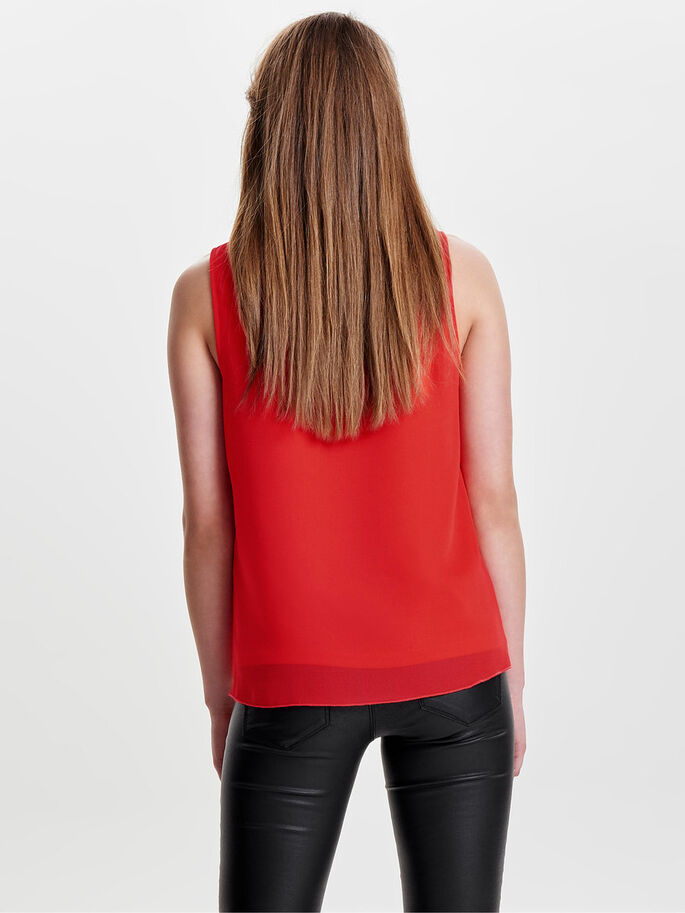 DETALJERET TOP SANS MANCHES, Poppy Red, large