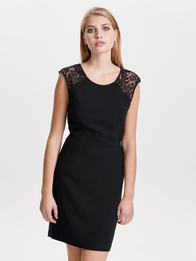 LACE DETAILED SLEEVELESS DRESS, Black, large