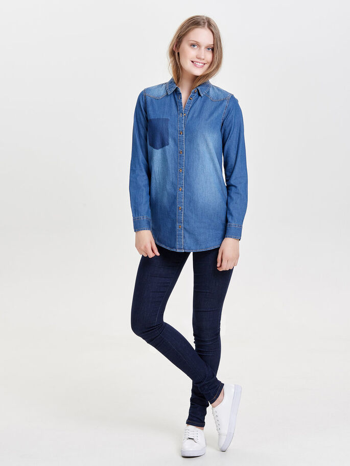 LOOSE DENIM SHIRT, Medium Blue Denim, large
