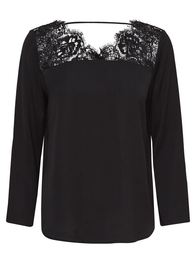 DENTELLE BLOUSE, Black, large