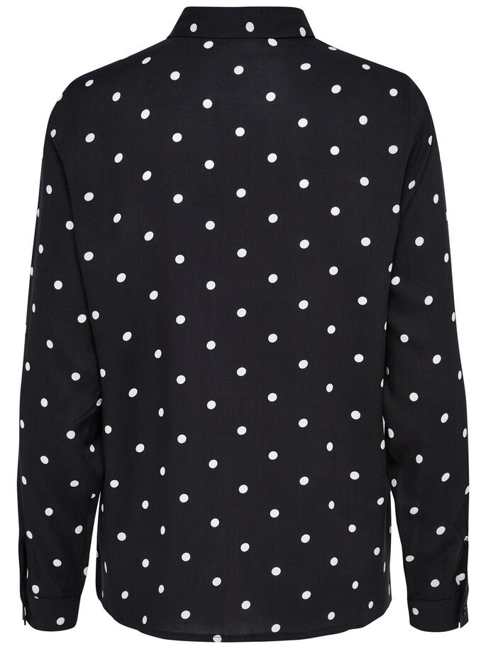 ESTAMPADA CAMISA DE MANGA LARGA, Black, large