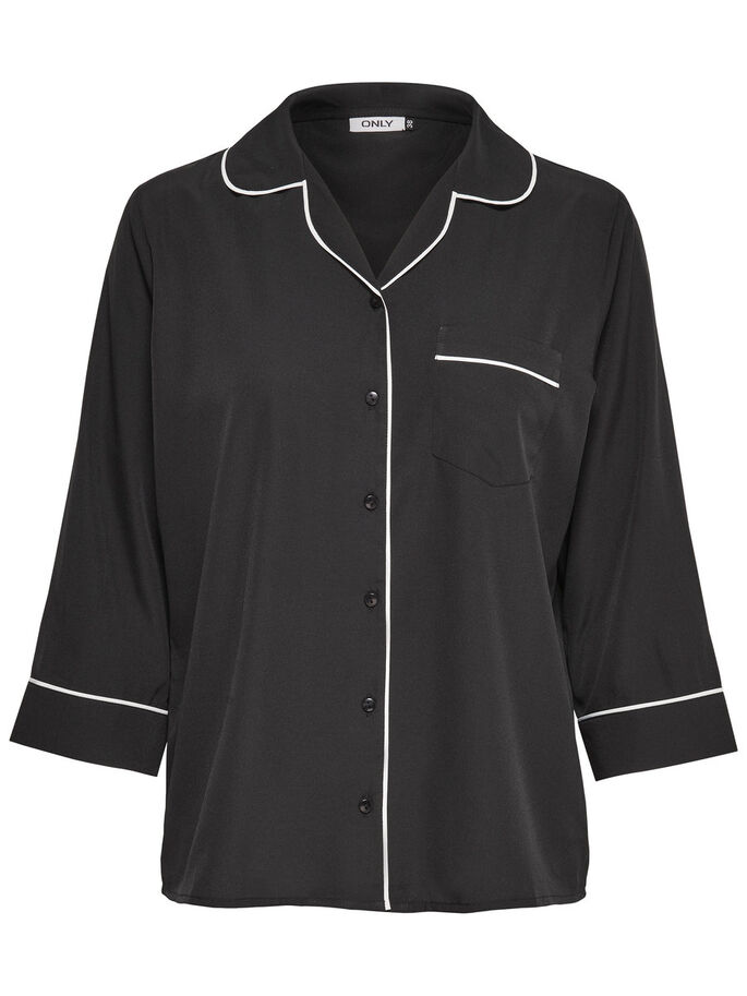 DETAILED 3/4 SLEEVED SHIRT, Black, large