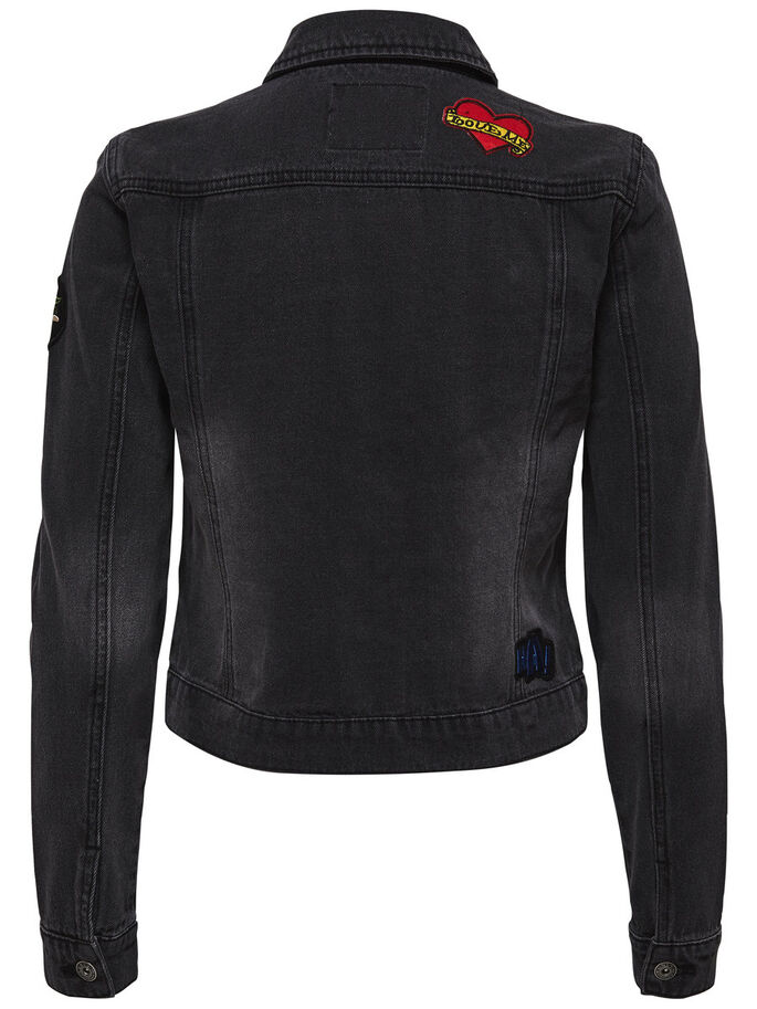 AUFNÄHER- JEANSJACKE, Dark Grey Denim, large