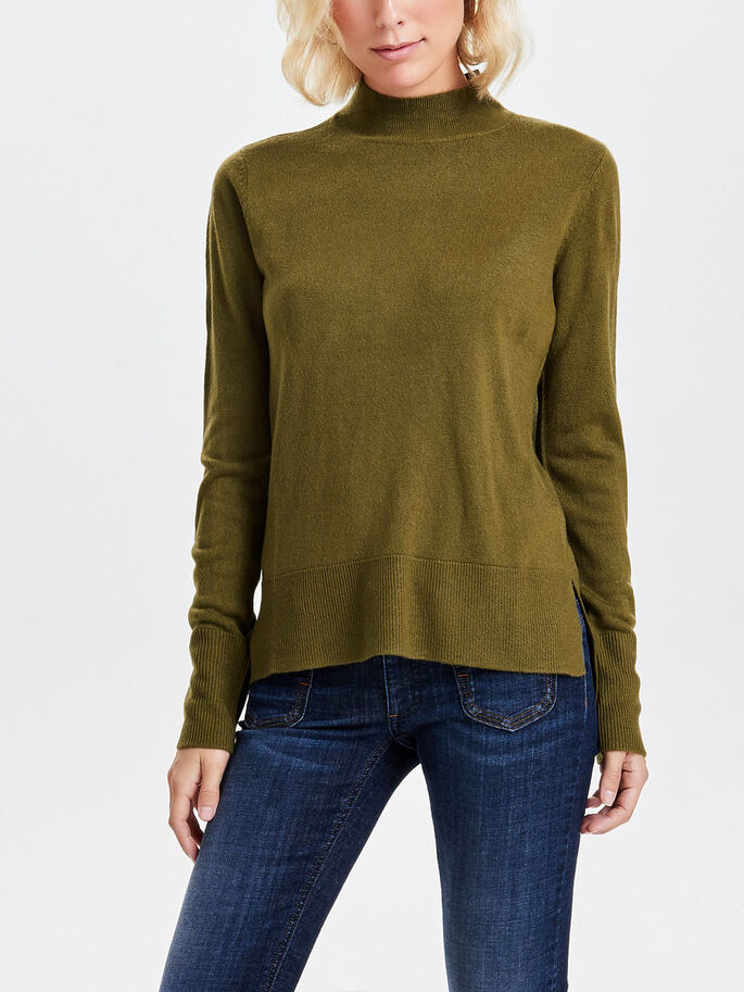 LONG SLEEVED TURTLENECK, Dark Olive, large