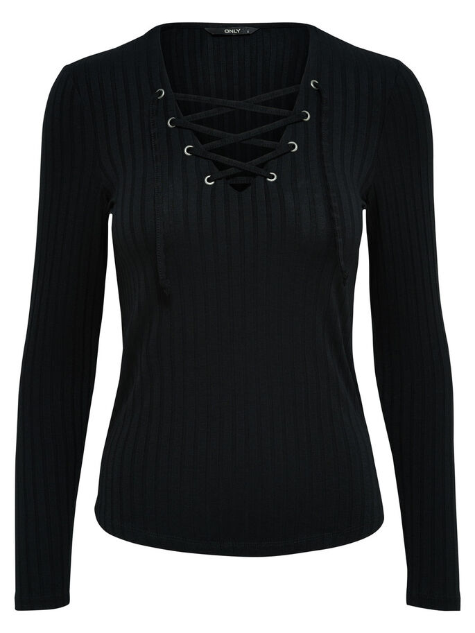 LACE-UP LONG SLEEVED TOP, Black, large