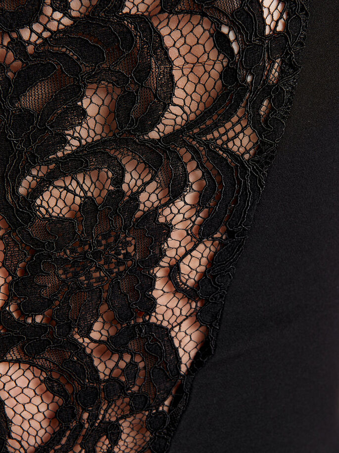 LACE SHORT DRESS, Black, large