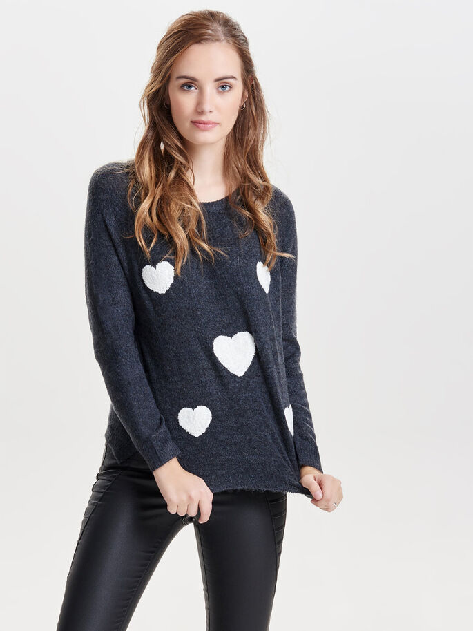 HEART PATTERN KNITTED PULLOVER, Dark Navy, large