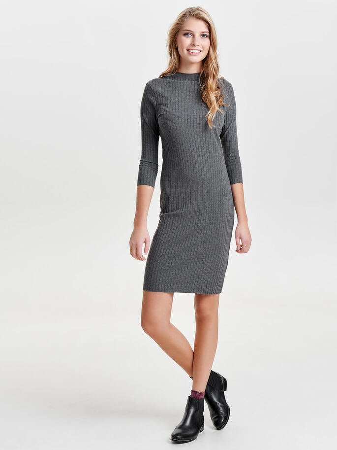 HIGH NECK DRESS, Dark Grey Melange, large