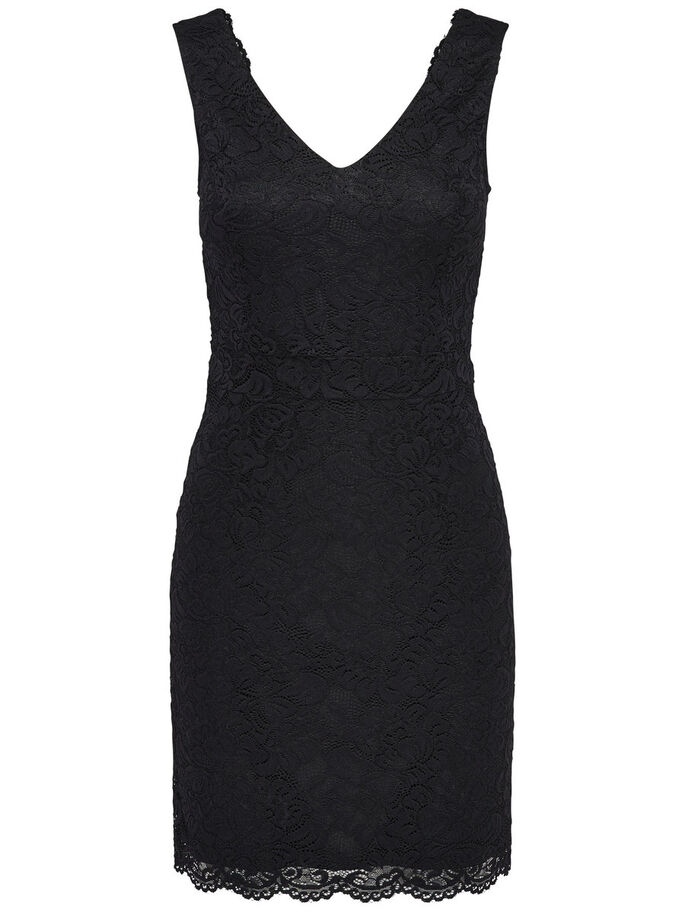 CROCHET SLEEVELESS DRESS, Black, large