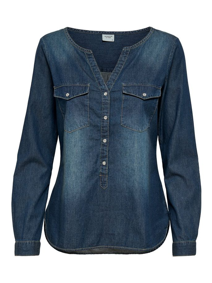 DETALJERAD JEANSSKJORTA, Medium Blue Denim, large