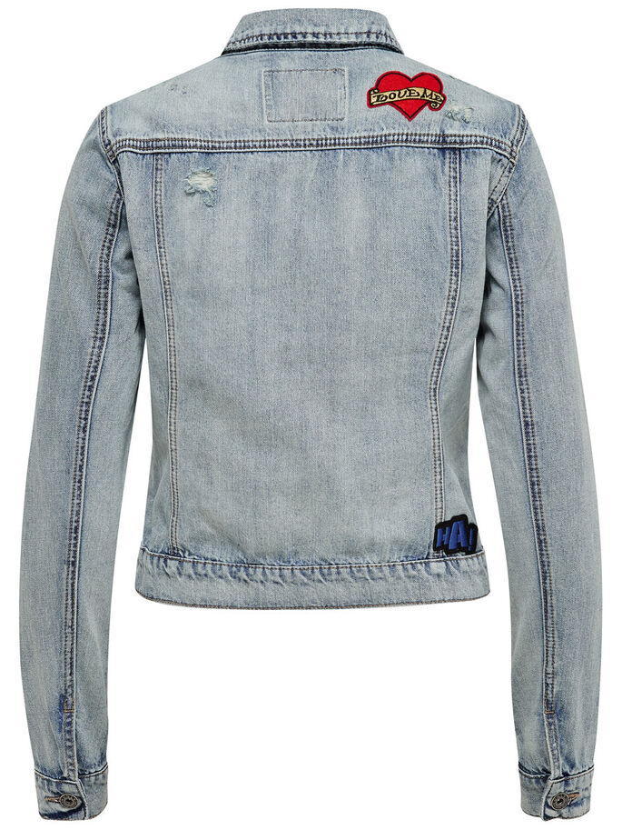CON INSIGNIAS DECORATIVAS CHAQUETA VAQUERA, Light Blue Denim, large