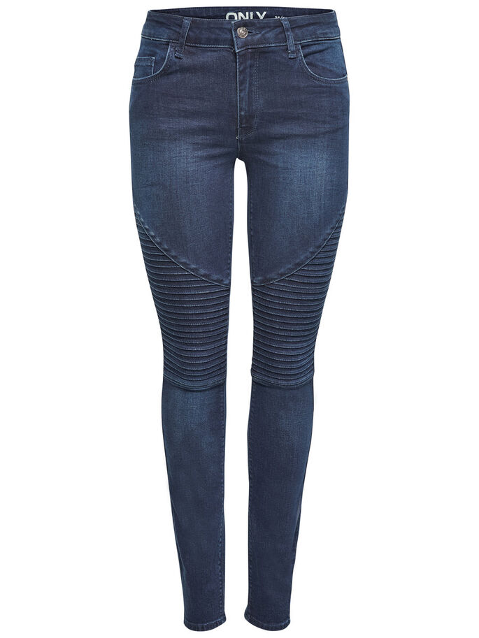 CARMEN REG BIKER SKINNY FIT JEANS, Dark Blue Denim, large