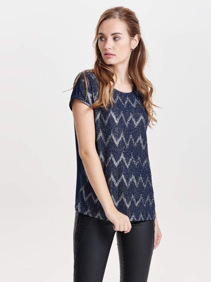 PATTERNED SHORT SLEEVED TOP, Night Sky, large