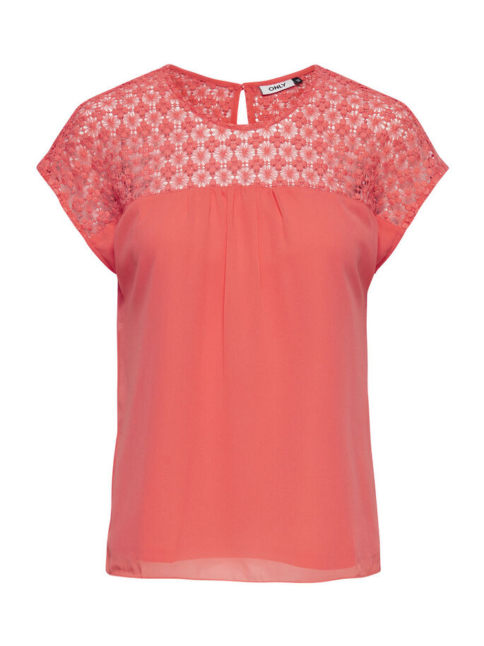 FEMININE SHORT SLEEVED TOP, Porcelain Rose, large