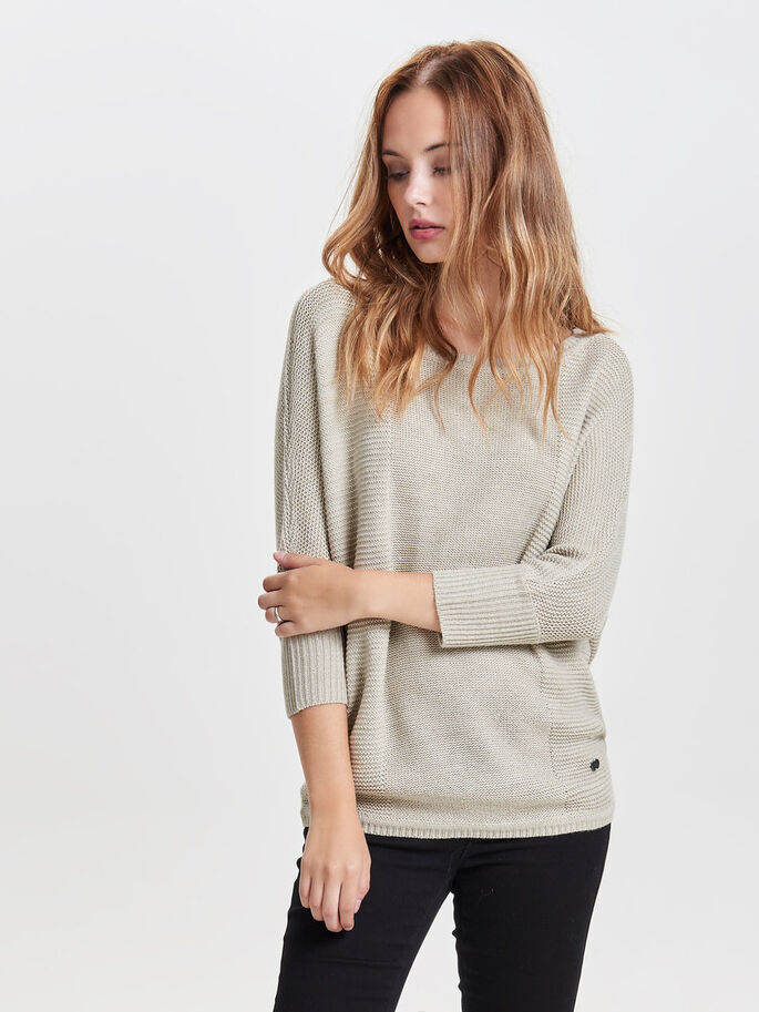 LOOSE KNITTED PULLOVER, Oatmeal, large