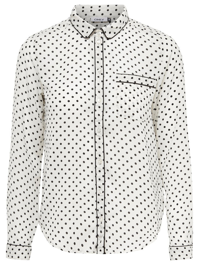 DOTTED LONG SLEEVED SHIRT, Cloud Dancer, large