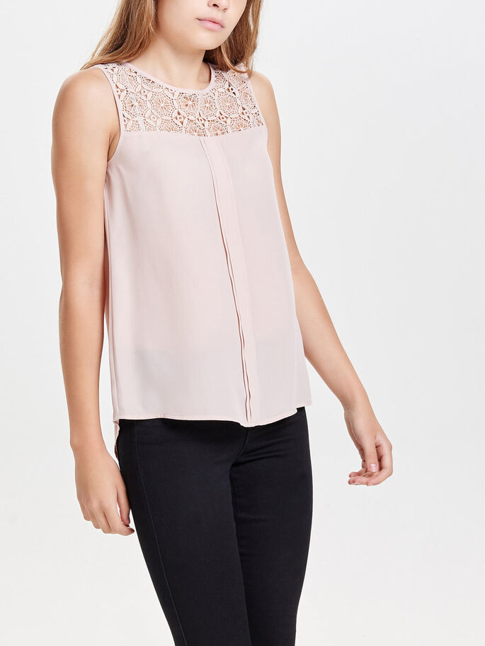 LACE SLEEVELESS TOP, Rose Dust, large
