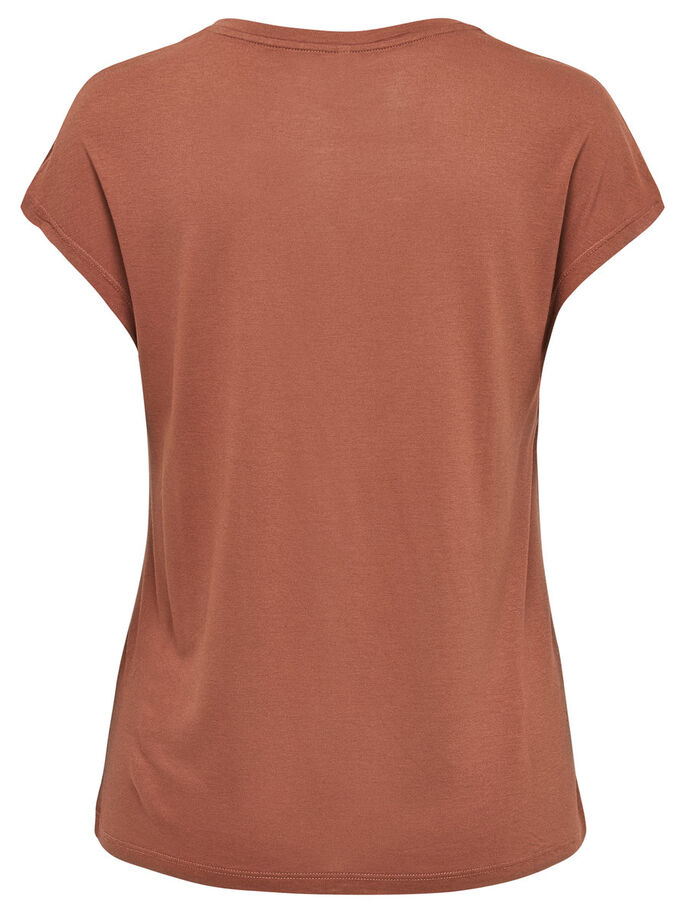 PRINTED SHORT SLEEVED TOP, Cognac, large