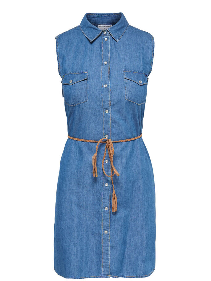 SLEEVELESS DENIM DRESS, Medium Blue Denim, large