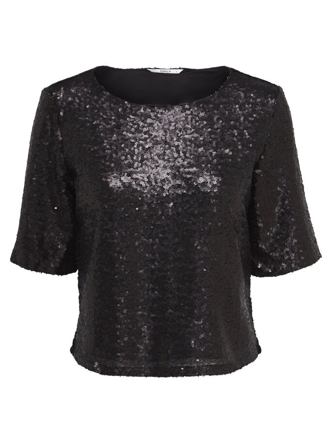 SEQUINS BLOUSE MANCHES 2/4, Black, large