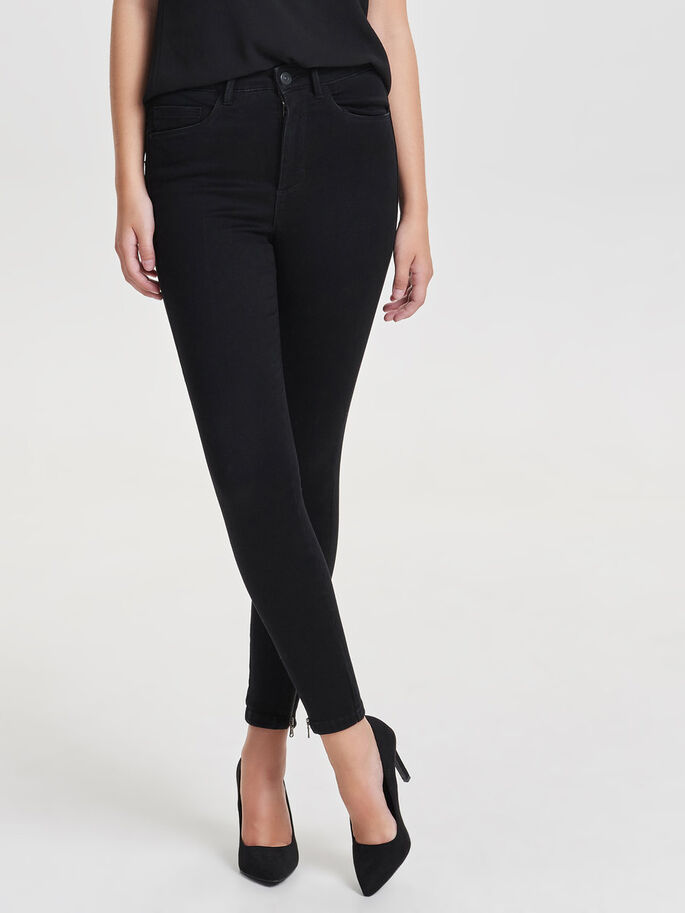 SKINNY HIGH WAIST TROUSERS, Black, large