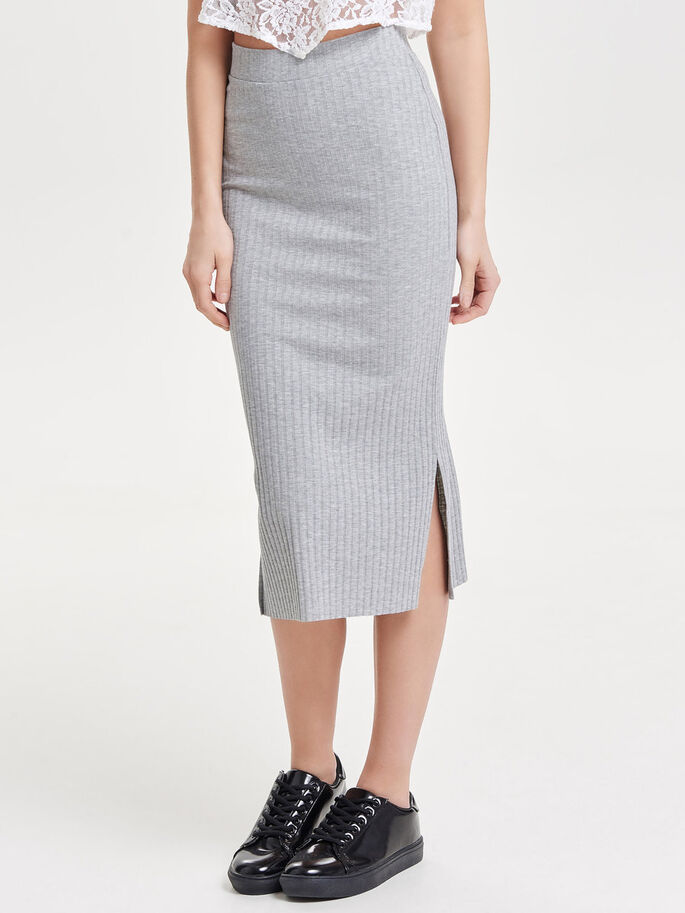 RIB MIDI SKIRT, Light Grey Melange, large