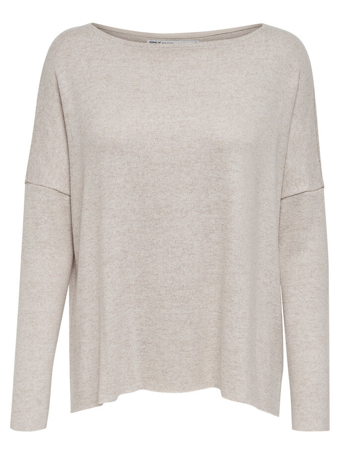 LOOSE FITTED KNITTED PULLOVER, Hazelnut, large