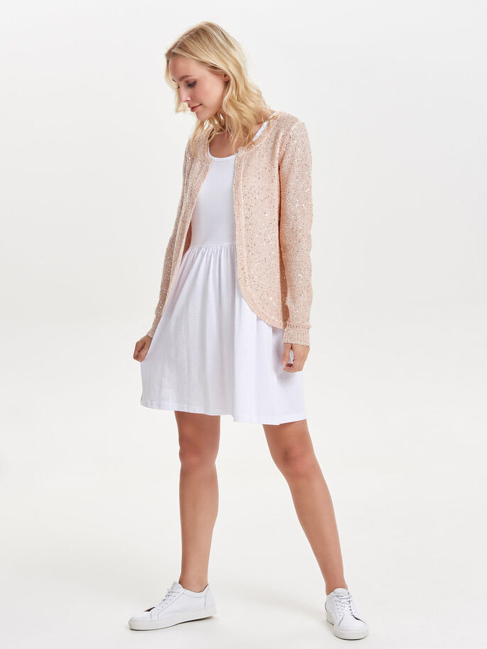 SEQUINS KNITTED CARDIGAN, Peach Whip, large